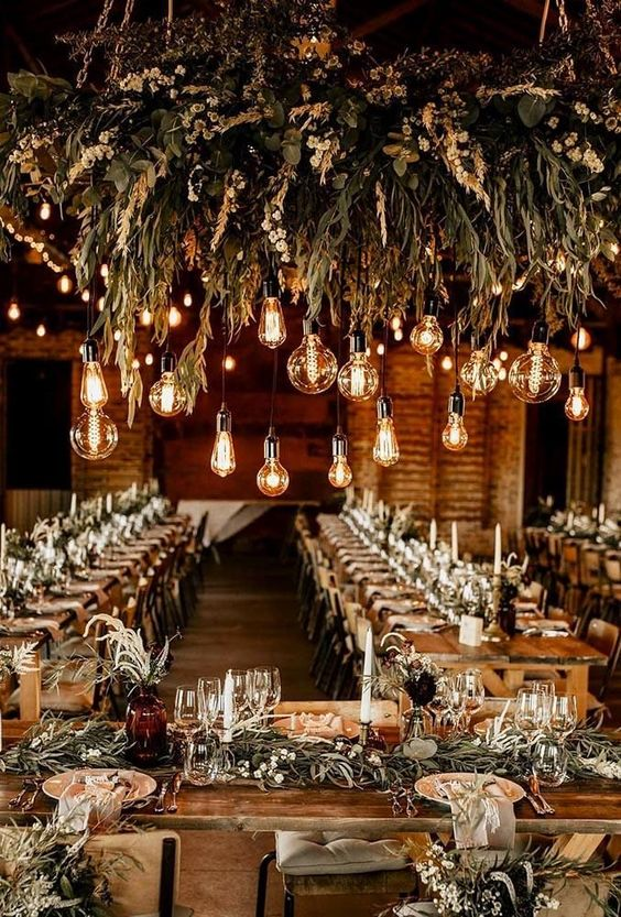 indoor barn wedding lights
