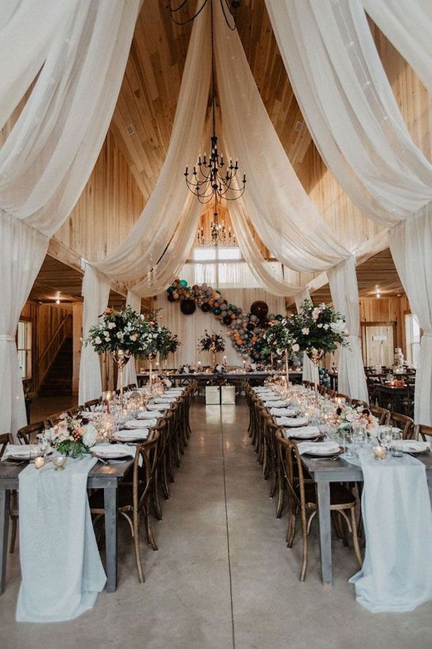 Ceiling Drapes for Barn Wedding