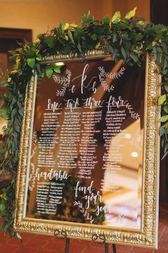 Table Plan on a Mirror