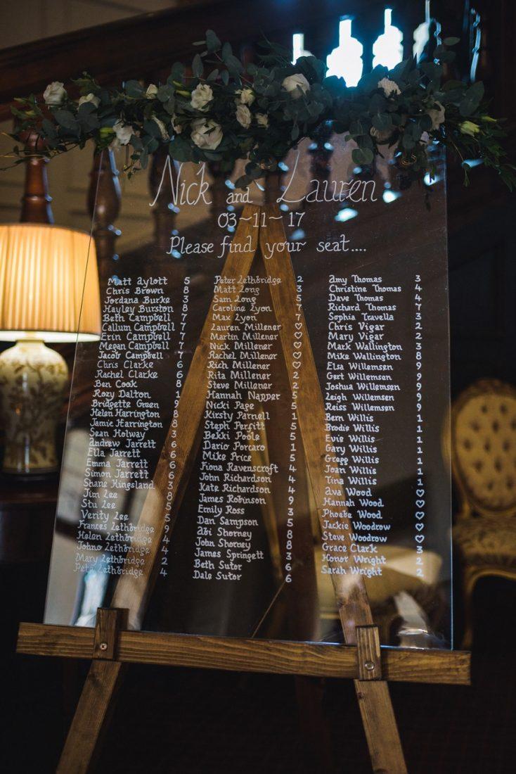 Perspex Wedding Table Plan