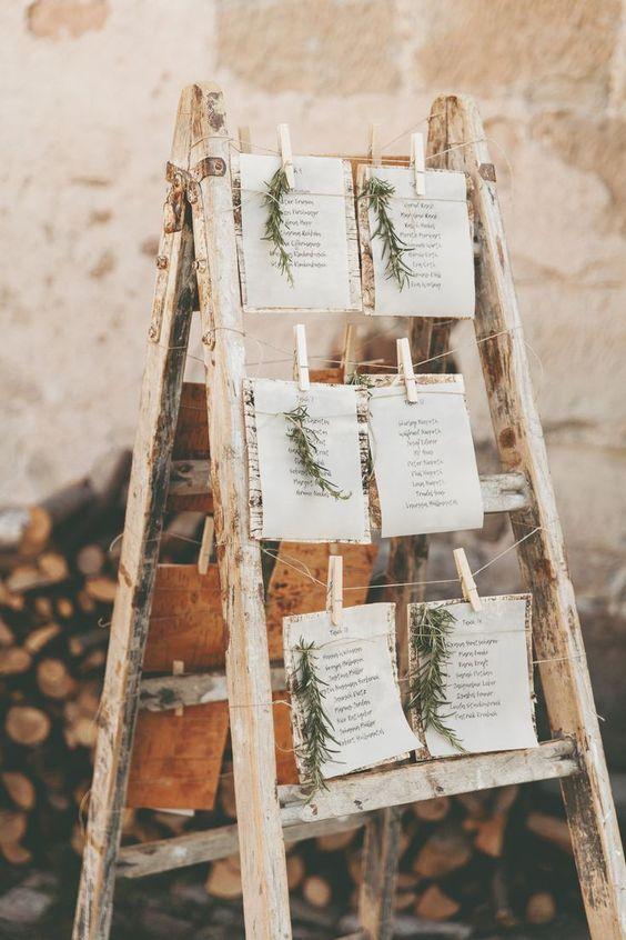 Rustic Ladder table seating plan