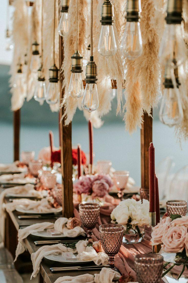 An intimate wedding at Fanari Villas, Santorini.