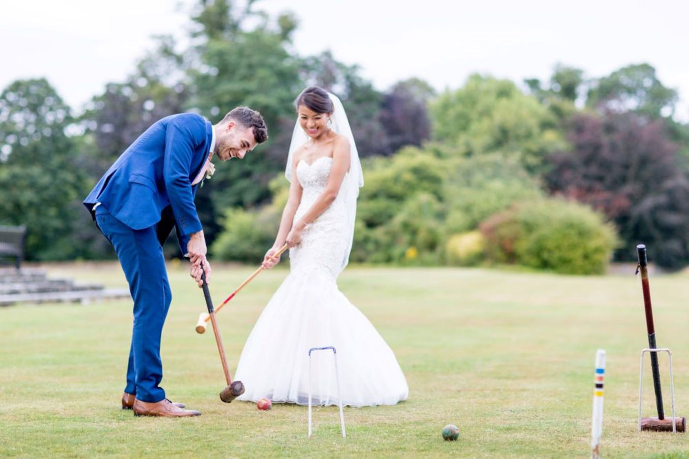 Bride and Groom Play Croquet